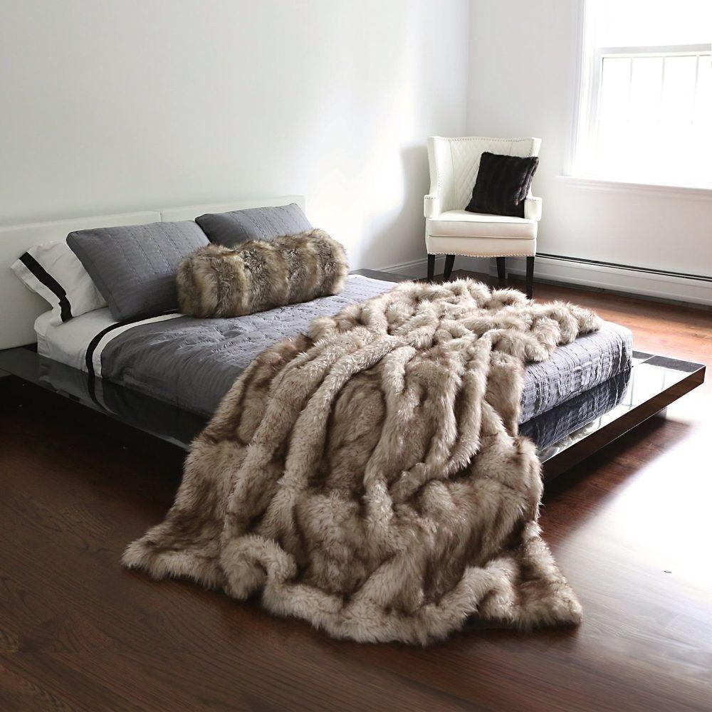 Faux Fur Blanket Queen On Grey Bed