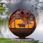 Fire pit ball for outdoor with natural feature