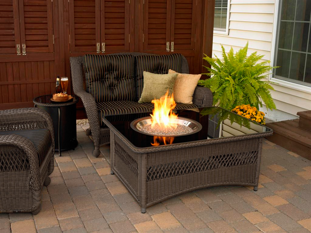 Fire Pit Table With Black Glass Top For Indoor Dark Rattan Chairs With  Black And Strip