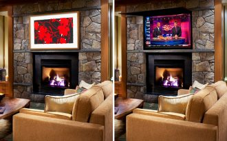 Flat Screen TV Covers With Frame On Stone Fireplace With Sectional Sofa