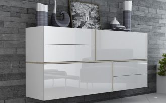 Floating dresser in glossy white and in modern minimalist style