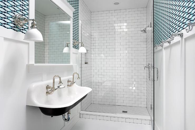 Floating Kohler Sink With A Pair Of Faucets For Modern Bathroom Frameless Mirror