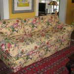 Floral Pattern Of Custom Couch Covers With Red Rug
