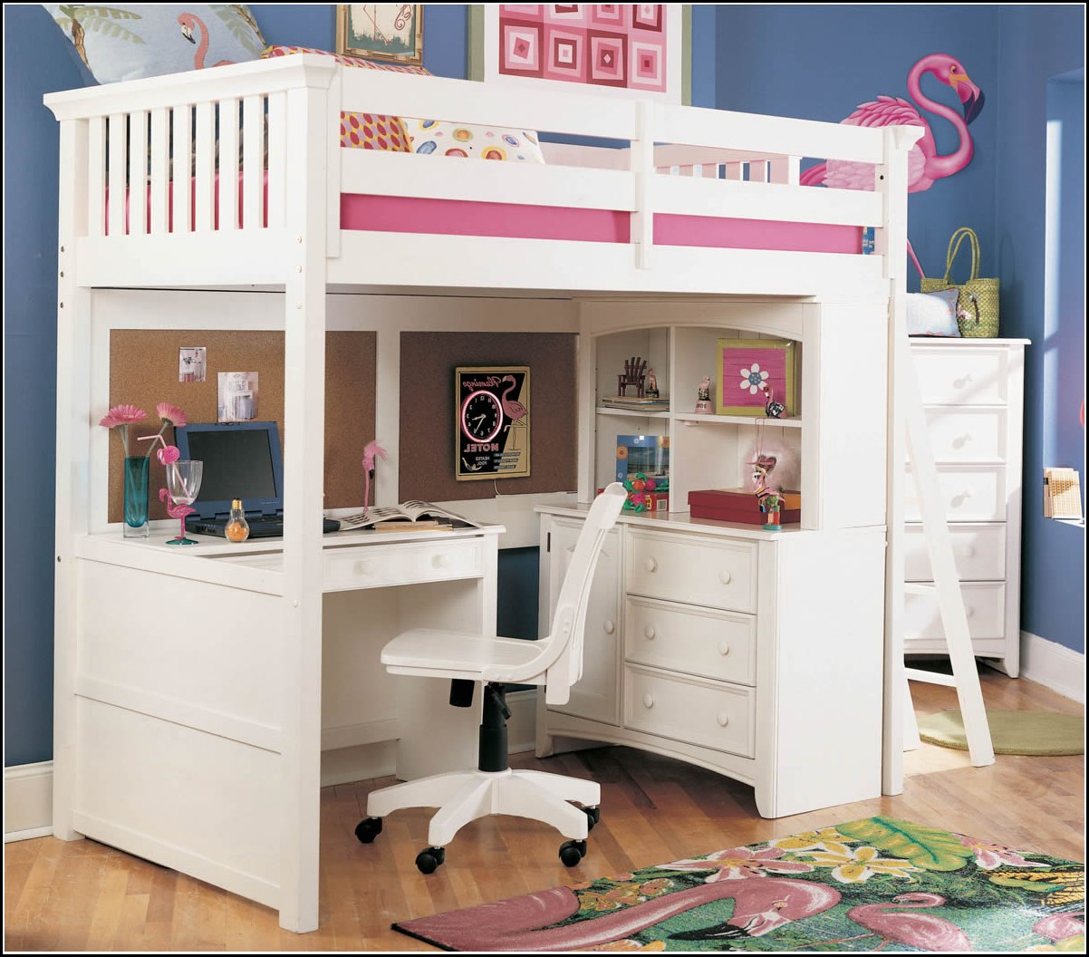 White bunk beds with desk - Girls White Wooden Bunk Beds With Desks And Chair