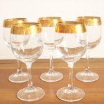 Gold Rimmed Wine Glasses Greek Key A Fabulous Vintage Wine Glasses Feature A Greek Key Design With Set Of Five Wine Glasses At Etsy