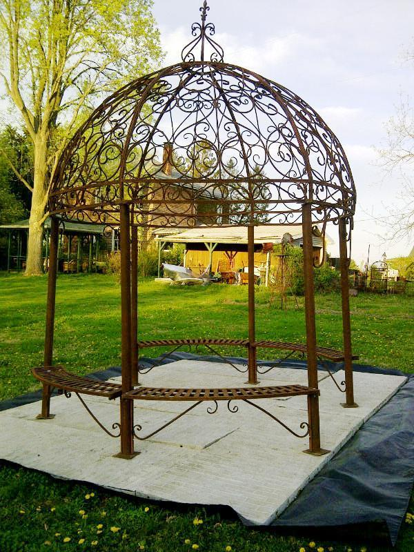 wrought iron pergola homesfeed. Black Bedroom Furniture Sets. Home Design Ideas