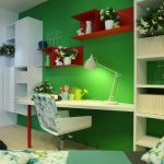 Green Office Ideas In Bedroom Office On Wall With White Desk Chair And Bookshelf
