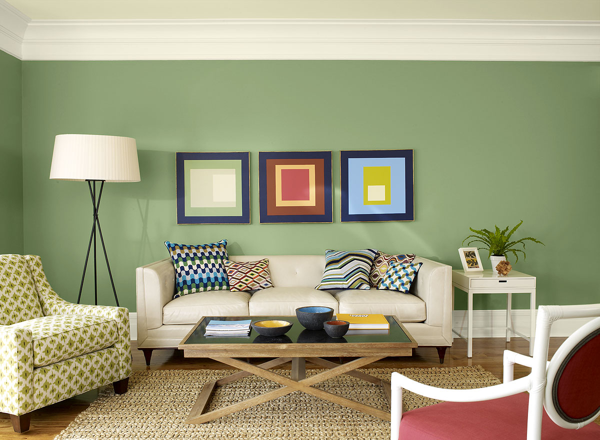 Green Wall Living Room Colour Schemes With White Furniture And Wooden Table