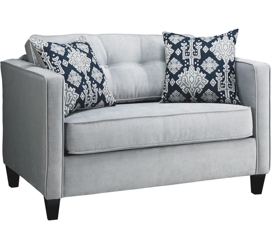 Grey Twin Size Sleeper Sofa With Double Decorative Pillows