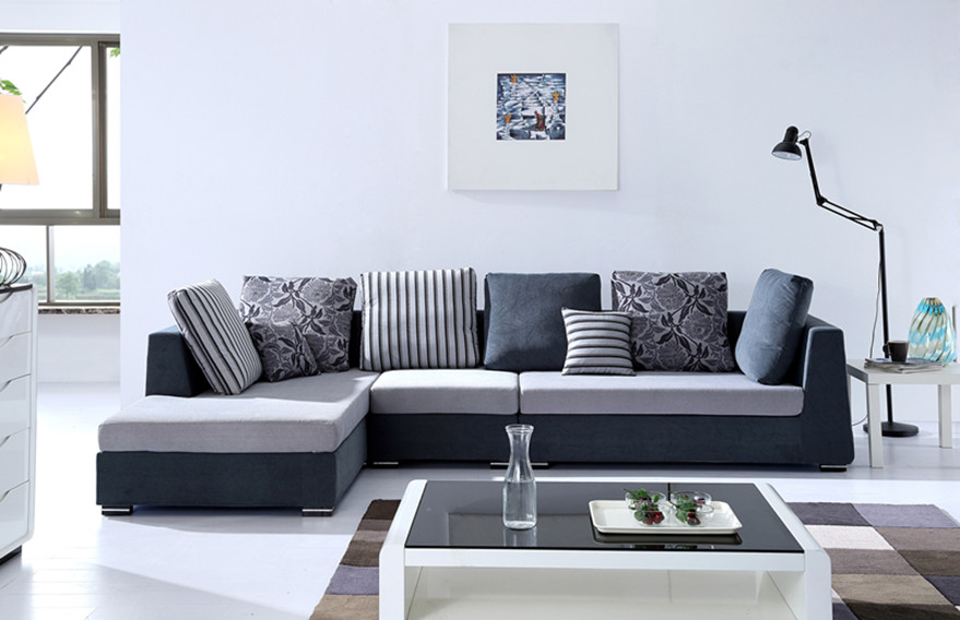 Genial Grey White Sectional Sofa Designs For Living Room With Stripped Pillow  Floor Lamp And White Glass
