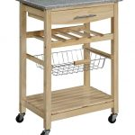 Grey granite top kitchen cart with under shelves and wheels