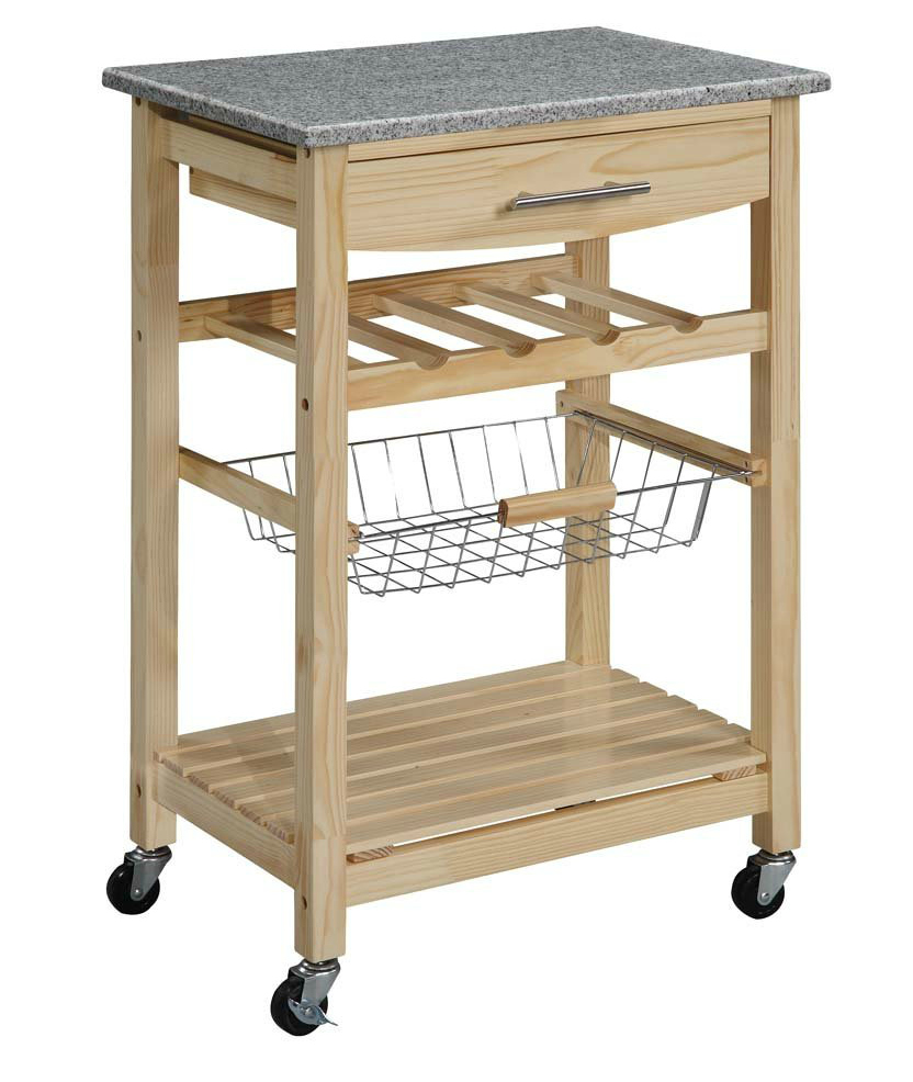 Kitchen Cart Wood Marble Top