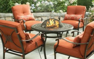 Hampton bay fire pit table in round shape four units of patio chairs