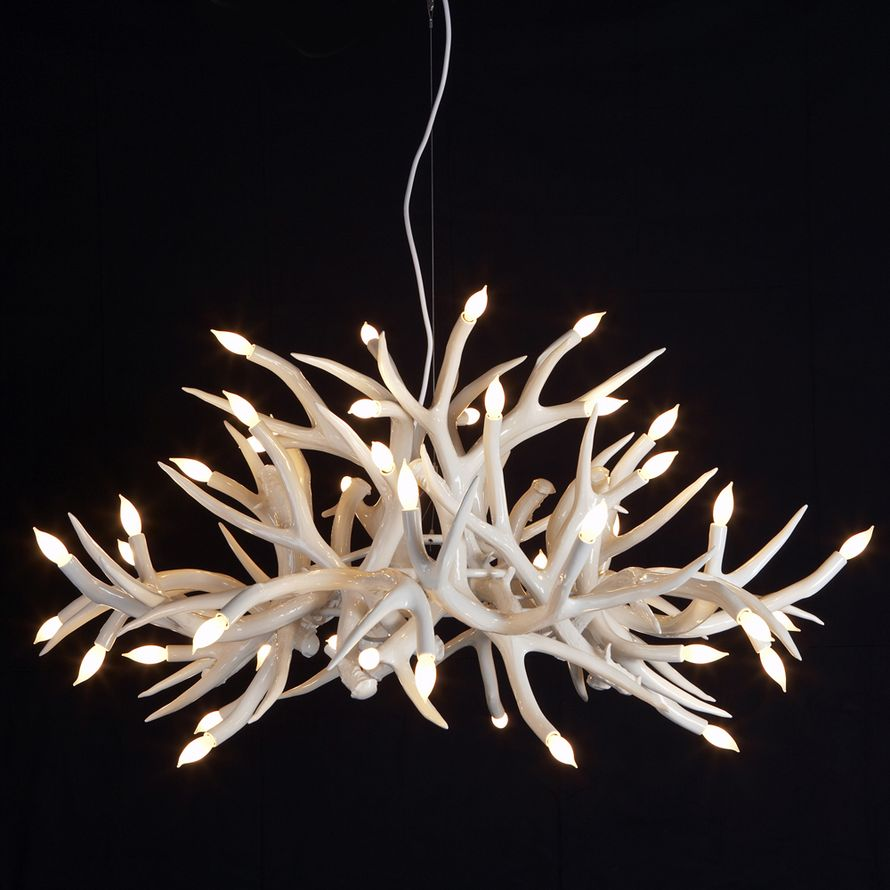 Hill White Antler Chandelier With Black Background