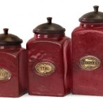 IMAX-red-ceramic-canister-and-set-of-three-with-red-vivid-finish-for-bright-and-cheery-look-and-with-mango-wood-lid-features-brass-content-label