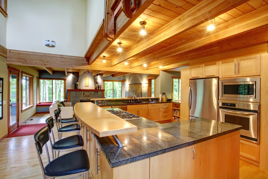 Stylish kitchen with two tier kitchen island homesfeed - Stylishly modern kitchen islands additional work surface ...