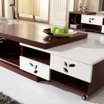 Large and movable center table in dark brown and white tone colors