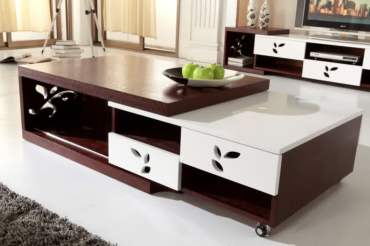 Large and movable center table in dark brown and white tone colors & Top Ten Modern Center Table Lists for Living Room | HomesFeed