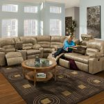 Leather Unique Sectional Sofas With Round Wooden Table And Stylish Rug