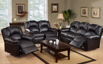 Leather reclining sectionals in black deep brown coated wooden coffee table