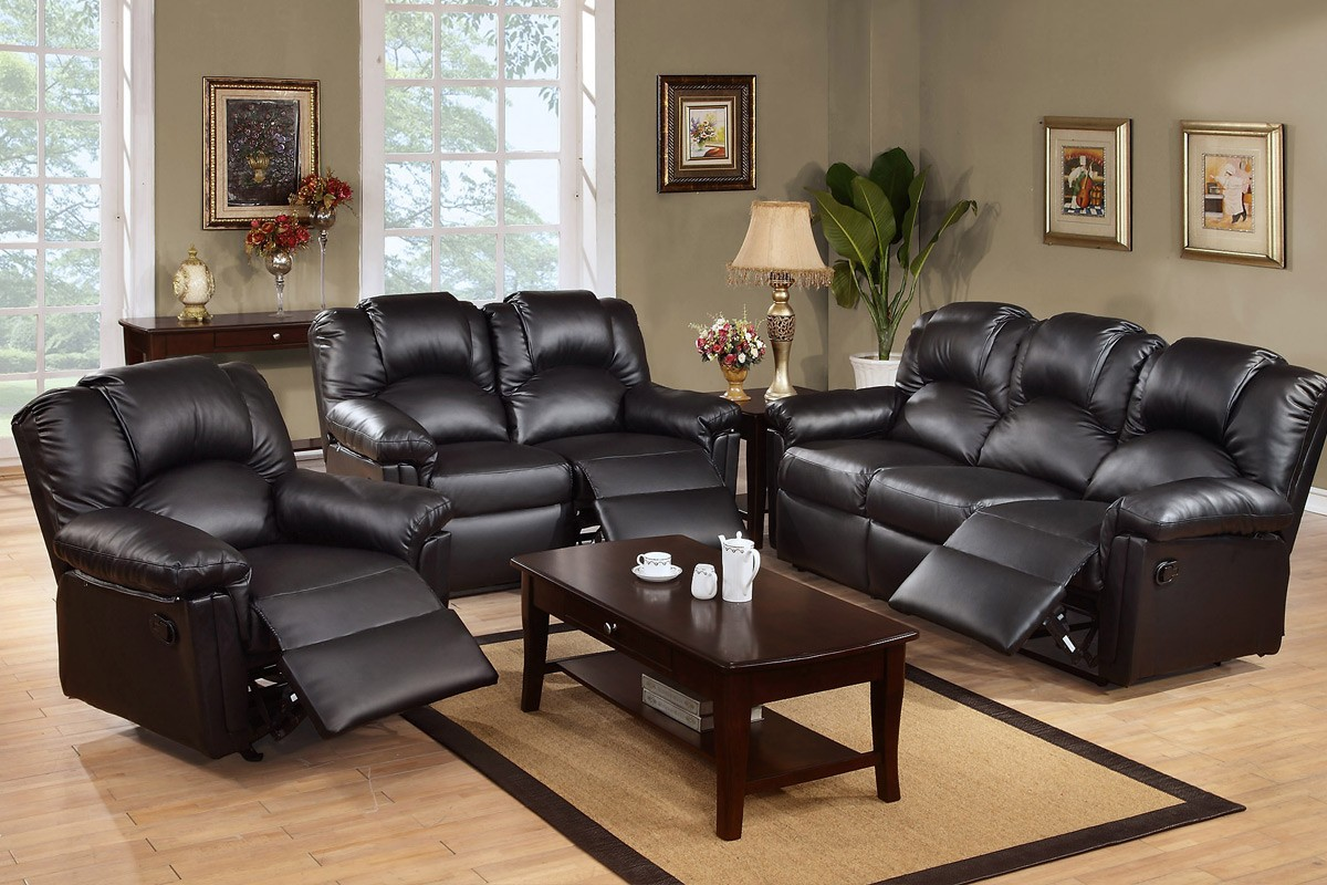 Leather reclining sectionals in black deep brown coated wooden coffee table & Black Leather Reclining Sectional Products | HomesFeed islam-shia.org