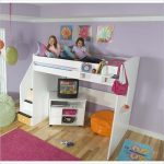 Loft bed idea from Berg in white with small media desk and stairs a yellow bean chair blue bedroom mat with butterfly motif pretty pink bedroom rug colorful pendant lamp idea