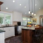 Long And Small Kitchen Pendant Light Fixture With Kitchen Island And Additional Lights On Ceiling