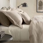 Lovely Modern Restoration Hardware Linen Sheets With Gray And White Color