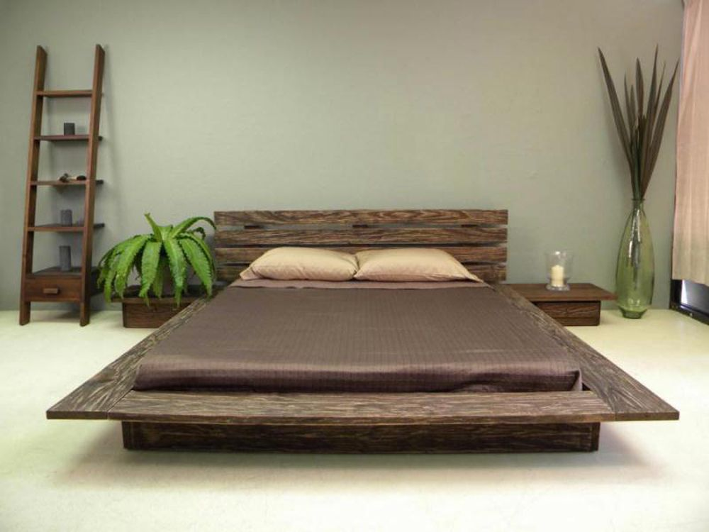 low profile platform bed frame with headboard in modern rustic style modern rustic ladder bookshelf idea simple solid wood