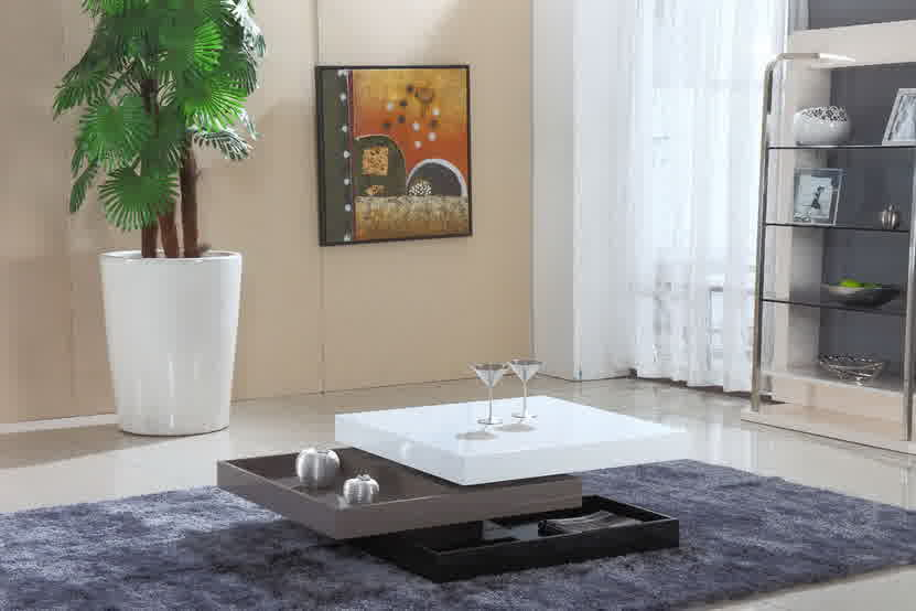 Low Profile White Top Center Table With Two Layers Of Under Storage Idea Bold Grey Area