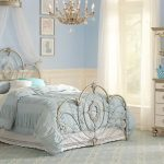 Marine themed bedroom decor idea with bed frame and metal classic headboard and footboard beside table with drawers mini bed white lace curtain a cloth closet light blue bedroom rug
