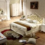 Marvelous fancy bed set in white white bedside table in classic style classic look bedroom vanity with round table and white vanity chair a white table in classic theme a bedroom rug with classic pattern
