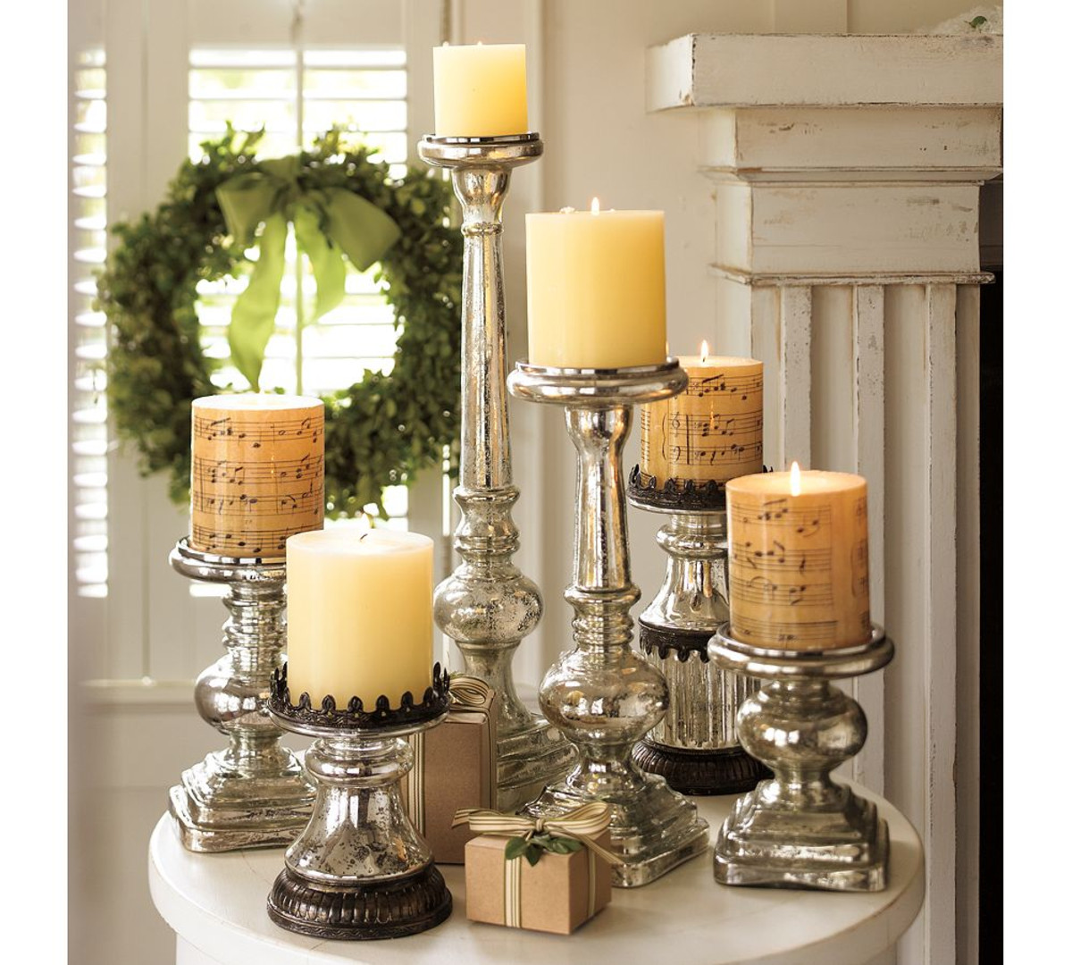 Mercury glass candlestick series in different designs and sizes for Christmas
