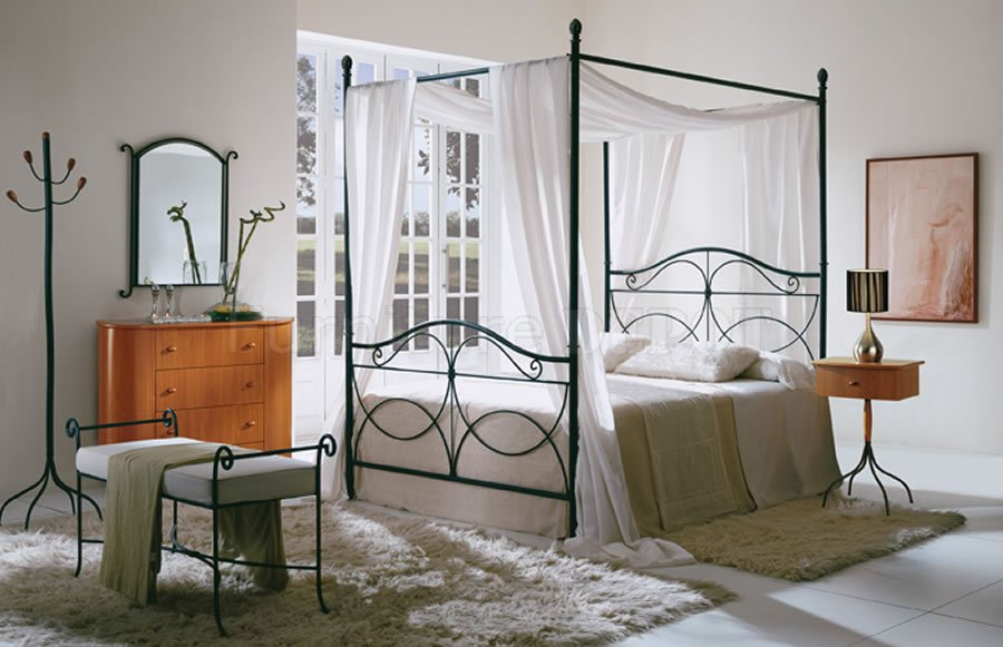 Metal Iron Canopy Bed Frame With White Bed And White Curtains Bench And Fur Rug & Iron Canopy Bed Frame | HomesFeed