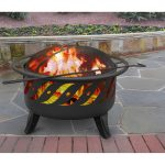 Metal outdoor fire pit with legs and enclosure