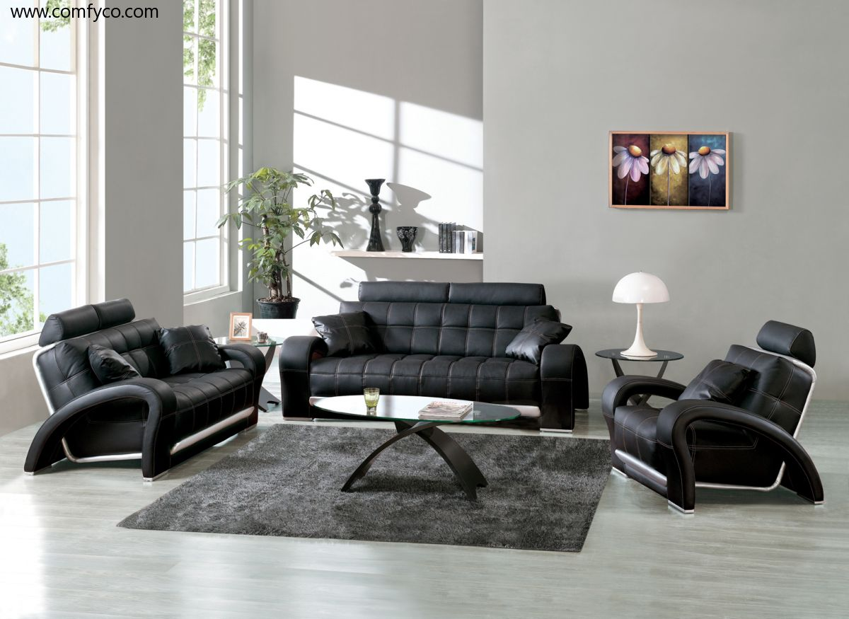 Modern Black Sofa Designs For Living Room With Gl Table And Grey Rug