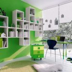 Modern Green Office Ideas For Wall Cabinet And Table With Wall Mounted Shelves