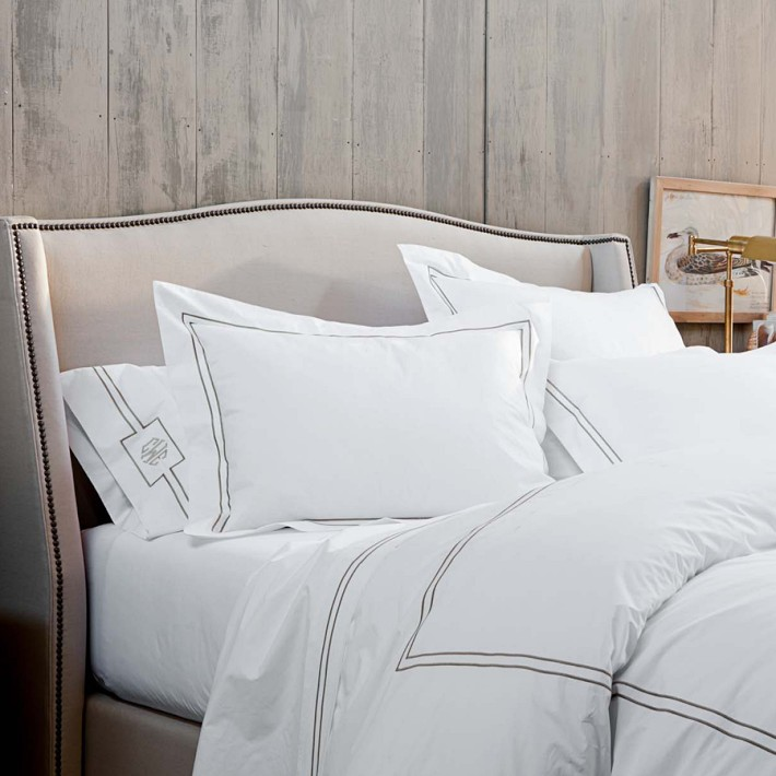 Superb Modern Ideas Of Upholstered Headboard With Nailhead Trim And White Bedding