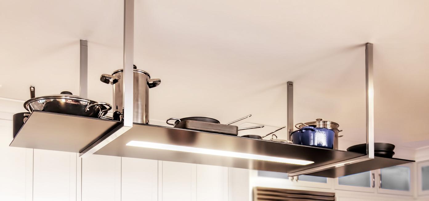 Pot rack with lights homesfeed modern metal grey pot rack with lights and rack mozeypictures Images
