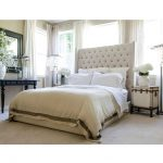 Modern Tall Upholstered Bed With White Bedding