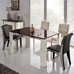 Modern White Ceramic Of High Top Table Sets With Black And White Chairs