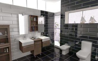 Modern bathroom plan in 3D consisting of a white toilet modern bathroom vanity with two farmhouse sinks and faucet a frameless rectangle mirror a wooden storage system