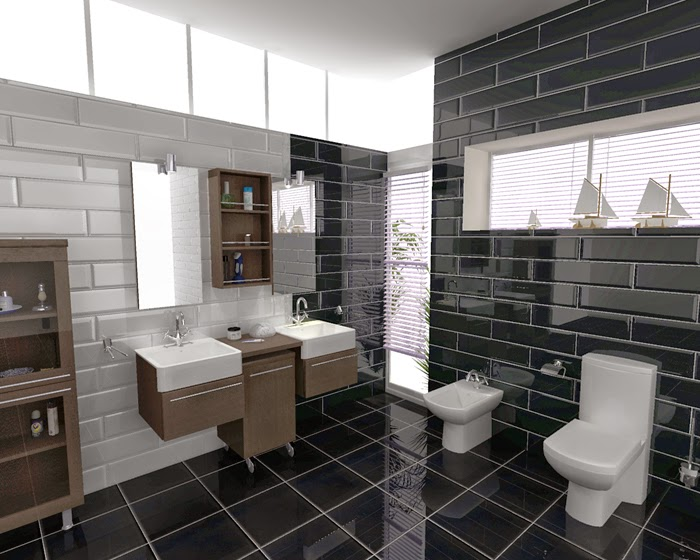 Modern bathroom plan in 3D consisting of a white toilet modern bathroom  vanity with two farmhouse