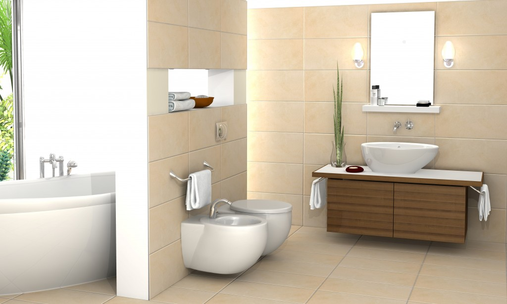 modern bathroom plan in d which depicts floating bathroom vanity with large white sink and double