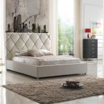 Modern fancy bed set with higher white headboard shaggy white bedroom rug idea modern white bedside table with under shelves