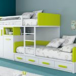 Modern loft bed idea with storage and bed additions for toddlers