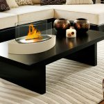 Modern rectangle table for indoor with modern glass warpped fire pit