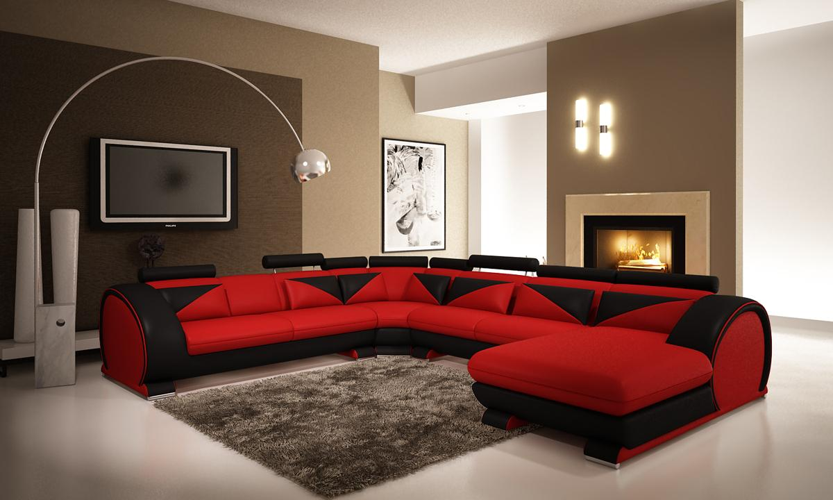 Red microfiber sectionals highlight your living room for Red modern decor