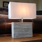 Modern rustic table lamp with white rectangle lampshade and chick shabby wooden base