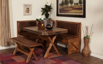 Modern rustic wood corner bench kitchen idea with wood square shaped table with X base and wood bench